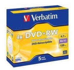 Verbatim DVD+RW 4,7 GB 4x, 5 szt.