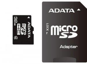 ADATA MicroSDHC 32 GB Class 4, plus Adapter, czarny