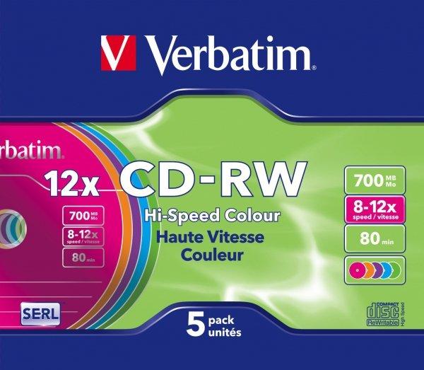 Verbatim CD-RW 700 MB 12x, 5 St