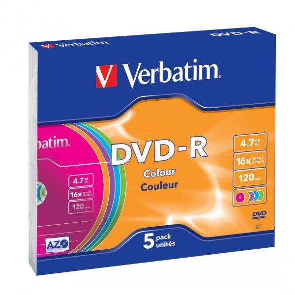 Verbatim DVD-R 4,7 GB 16x, 5 szt., Color