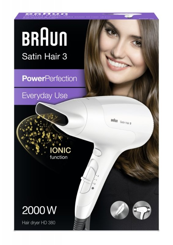 Braun HD 380 - suszarka do włosów - biała