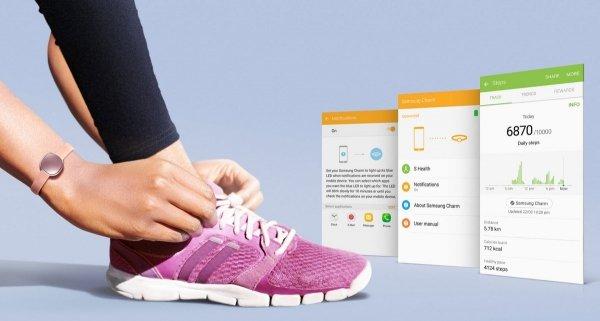Samsung Opaska fitness Charm biała LCD gold (złoty)