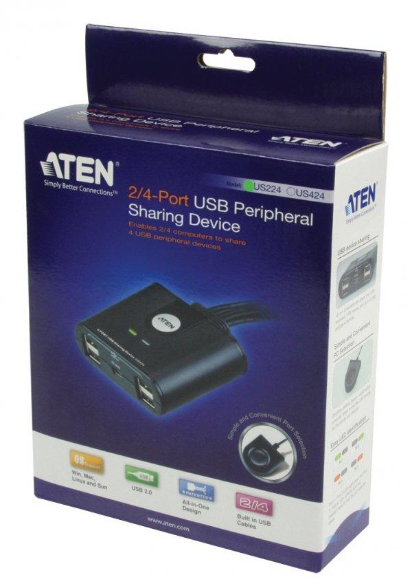 ATEN US224, USB 2.0 Data Switch, 4x USB 2.0 device to 2 PC