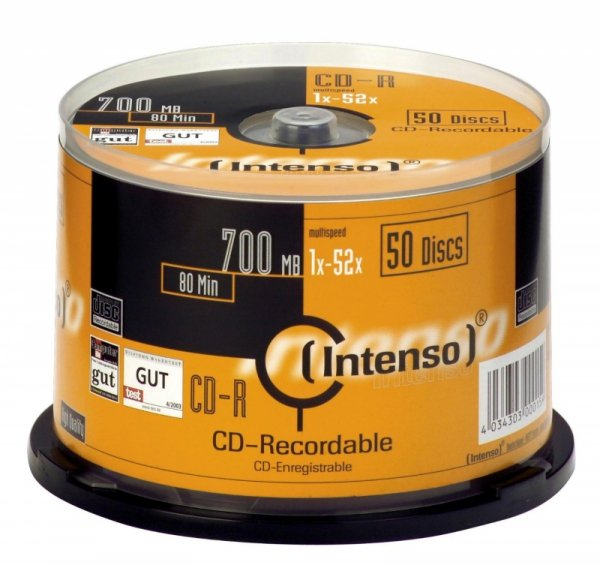 1x50 Intenso CD-R 80 / 700MB 52x Speed, Cakebox