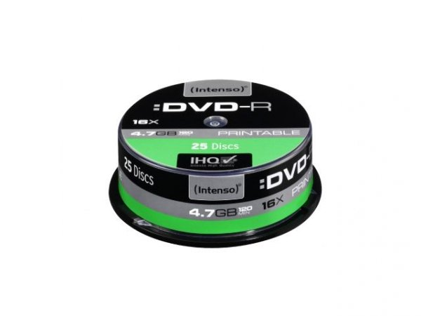 1x25 Intenso DVD-R 4,7GB 16x Speed Cakebox printable