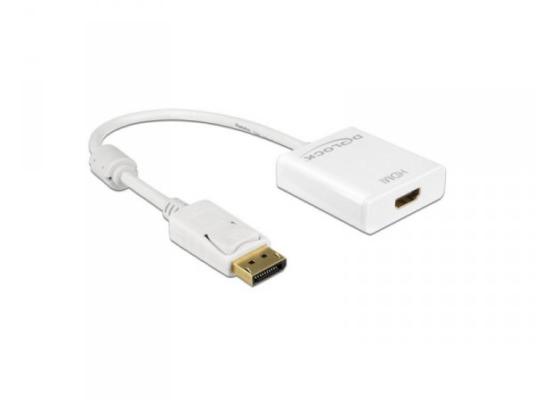 DeLOCK Adapter HDMI - Displayport - 4K - 20cm - biały