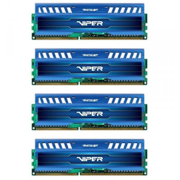 Patriot 32 GB DDR3-1600 Quad-Kit, PV332G160C0QKBL, Viper3 Sapphire Blue