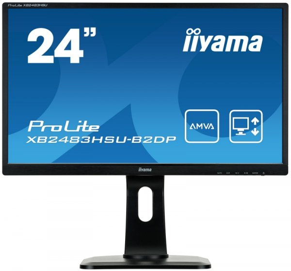 iiyama ProLite XB2483HSU-B2DP, czarny, DisplayPort, DVI-D, VGA, USB-Hub, Audio