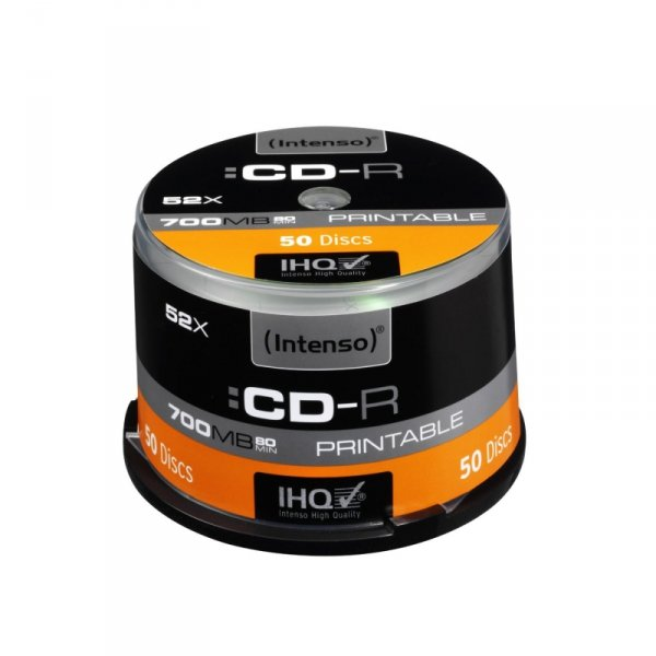 1x50 Intenso CD-R 80 / 700MB 52x Speed, printable, scr. res.