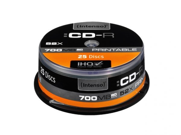 1x25 Intenso CD-R 80 / 700MB 52x Speed, printable, scr. res.
