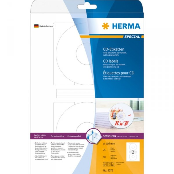 Herma CD-Lables 116mm Paper biały 25 Sheets 50pcs       5079