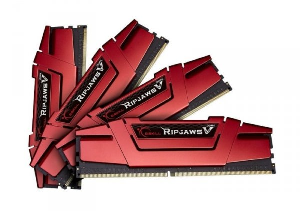 G.Skill 32 GB DDR4-3200 Quad-Kit, czerwony F4-3200C15Q-32GVK, Ripjaws V