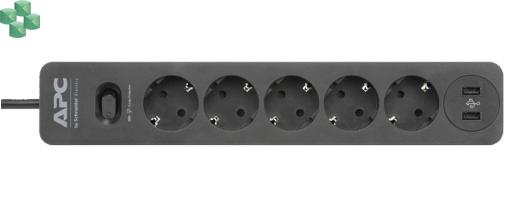 PME5U2B-GR Listwa zabezpieczająca 5 x SCHUKO z 2 gniazdami USB (do ładowania urządzeń) - APC Essential SurgeArrest 5 Outlet, 2 USB Ports Black, 230V, SCHUKO