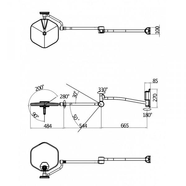Lampa Ścienna Zabiegowo-Operacyjna LUVIS S300W