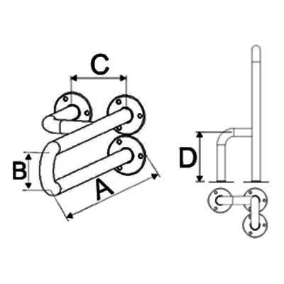 Uchwyty Umywalkowe Stałe Prawe/Lewe fi 25mm - Różne Rodzaje