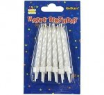 Świeczki urodzinowe spiralne - białe