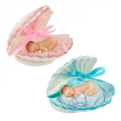 Bobas w muszelce - dekoracja na chrzest baby shower