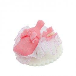 Cukrowa buteleczka z motylkiem - różowa - dekoracja na chrzest baby shower