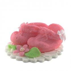 Buciki różowe - dekoracja tortu na chrzest