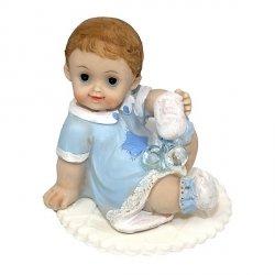 Figurka na tort - Bobas siedzący ze smoczkiem - chłopczyk