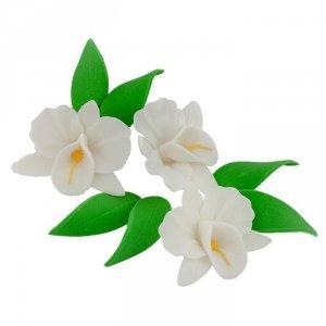 Zestaw cukrowe kwiaty na tort STORCZYK z listkami BIAŁY