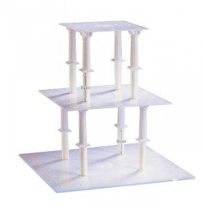 Kardasis - stojak kwadratowy na torty weselne 3 poziomy 8 Kolumn