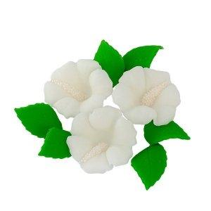 Zestaw cukrowe kwiaty HIBISKUS z listkami BIAŁY