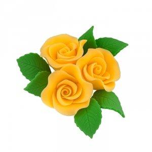 Zestaw cukrowe kwiaty na tort 3 RÓŻE MINI MAX z listkami ŻÓŁTY