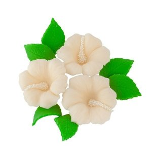 Zestaw cukrowe kwiaty HIBISKUS z listkami ECRU