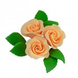 Zestaw cukrowe kwiaty na tort 3 RÓŻE MINI MAX z listkami HERBACIANY