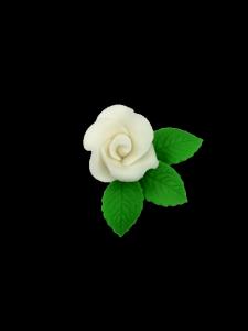 Róża mała z listkami - biała 20 kompletów