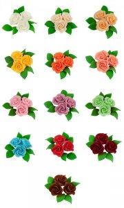 Zestaw cukrowe kwiaty 3 RÓŻE MINI MAX z listkami (13 kolorów)