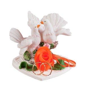 Dekoracja ślubna - Gołąbki z obrączkami