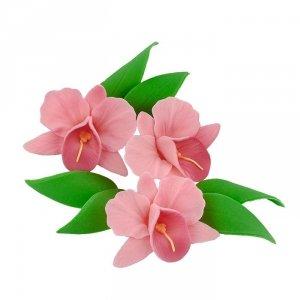 Zestaw cukrowe kwiaty na tort STORCZYK z listkami RÓŻOWY