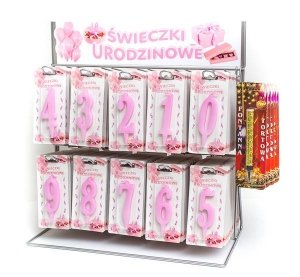 Różowa świeczka urodzinowa na tort cyfra