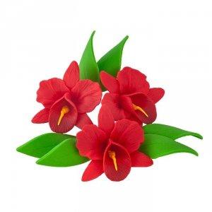 Zestaw cukrowe kwiaty na tort STORCZYK z listkami CZERWONY