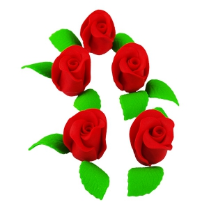 Zestaw RÓŻA DUŻA CZERWONA z listkami - kwiaty cukrowe