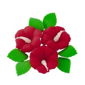 Zestaw cukrowe kwiaty HIBISKUS z listkami BORDOWY