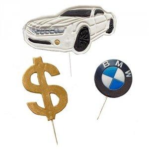 Cukrowa dekoracja na tort pikery 2D BIZNES samochód dolar bmw