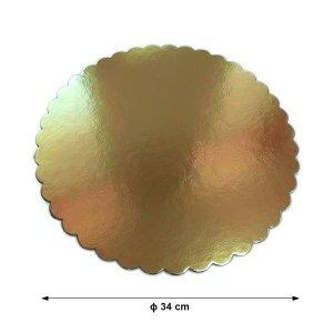 Podkład pod tort gruby złoty karbowany śr. 40cm