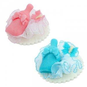 Cukrowa buteleczka z motylkiem - dekoracja na chrzest baby shower