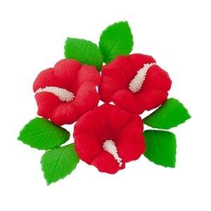 Zestaw cukrowe kwiaty HIBISKUS z listkami CZERWONY