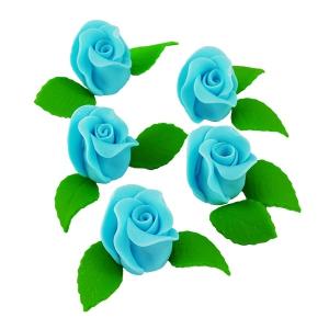 Zestaw RÓŻA DUŻA NIEBIESKA z listkami - kwiaty cukrowe