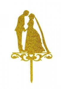 Dekoracja na tort ślubny topper PARA MŁODA złoty