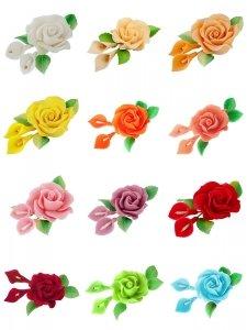 Zestaw cukrowe kwiaty RÓŻA MAX + KALIE z listkami (12 kolorów)