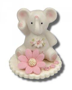 Hokus - Słonik z kwiatkiem różowy - Figurka na tort