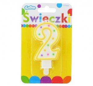 Świeczka urodzinowa na tort z kolorową obwódką i kropeczkami - cyfra 2