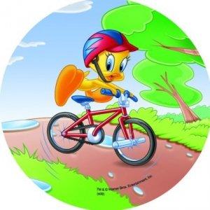 Modecor - opłatek na tort okrągły Tweety na rowerze