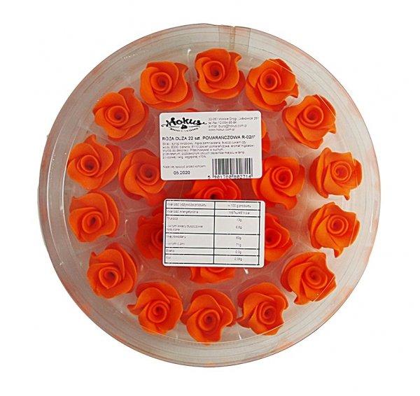 Róża duża 22 szt. pomorańczowa