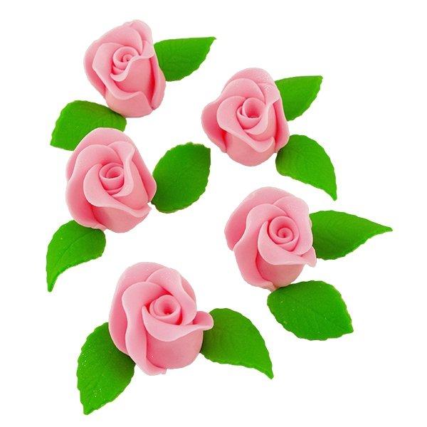 Zestaw RÓŻA DUŻA RÓŻOWA z listkami - kwiaty cukrowe